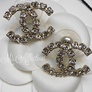 CHANEL NEW! Crystal CC Earrings *Rare* Gold 2020